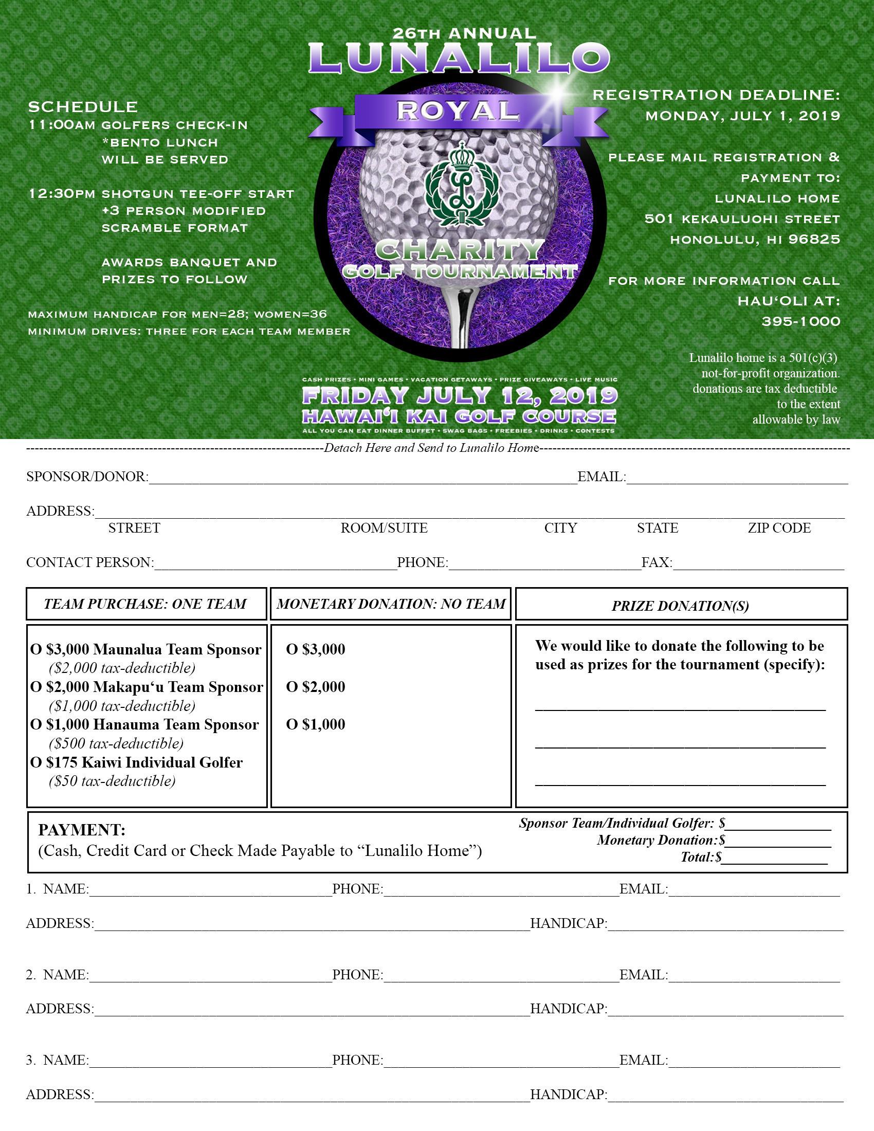 26th Annual Lunalilo Royal Charity Golf Tournament - Lunalilo Home